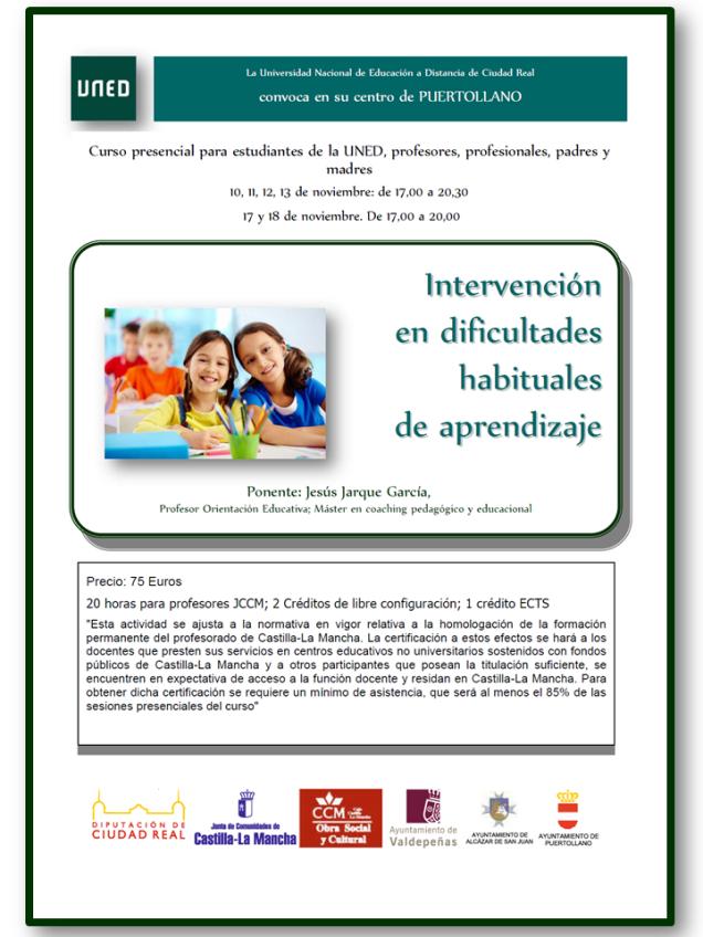 Cartel del curso que Jesús Jarque impartirá en la UNED de Puertollano, Ciudad Real, titulado Intervención en dificultades habituales de aprendizaje