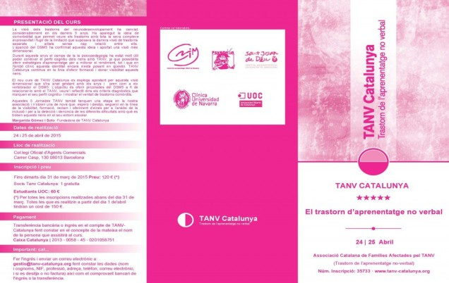 Programa de las 5ª Jornadas TANV Catalunya