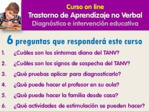 Finalidad del curso sobre el Trastorno de Aprendizaje No Verbal On line