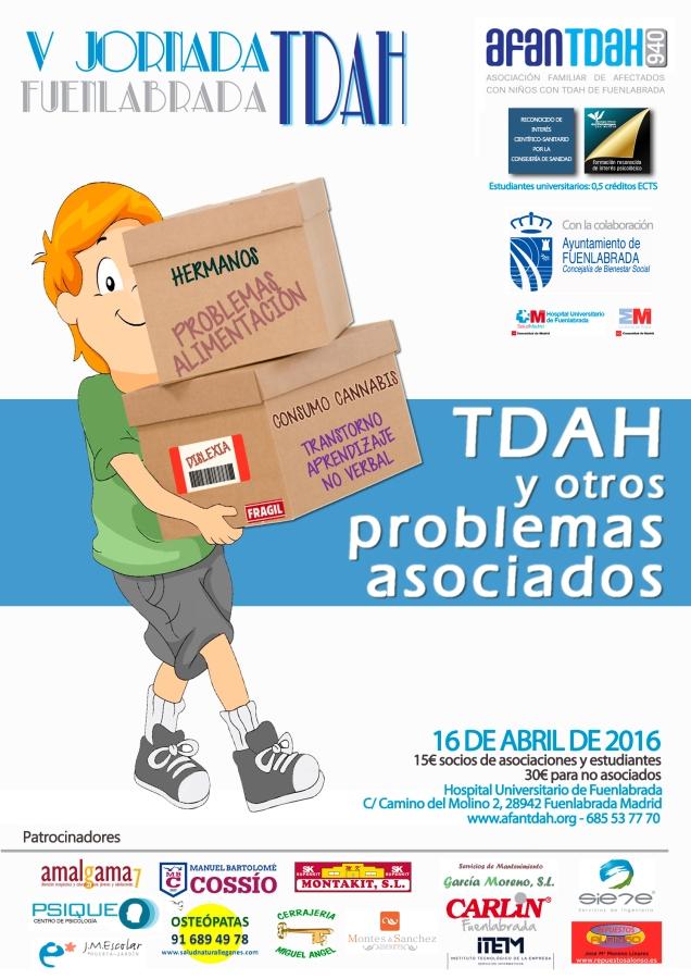 Cartel de la V Jornada sobre TDAH que se celebrará en Fuenlabrada con participación de Jesús Jarque