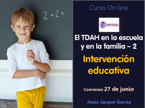 Intervención educativa TDAH, curso con on line