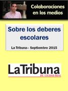 Artículo sobre los deberes escolares en La Tribuna de Ciudad Real