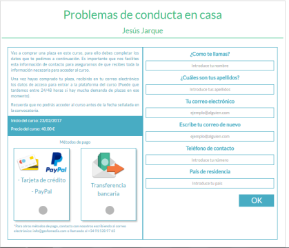 curso problemas de conducta en casa de Jesús Jarque, inscripción