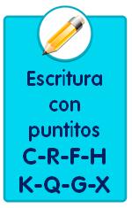 Ficha de escritura de letras con puntitos C R F H K Q G X