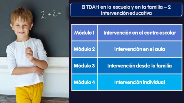 Contenidos del curso on line sobre intervención educativa en el TDAH.