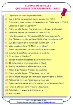 Materiales del curso pautas para TDAH para profesores y familias