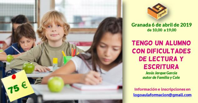 """Curso en Granada de Jesús Jarque: """"Tengo un alumno con dificultades de lectura y escritura""""."""