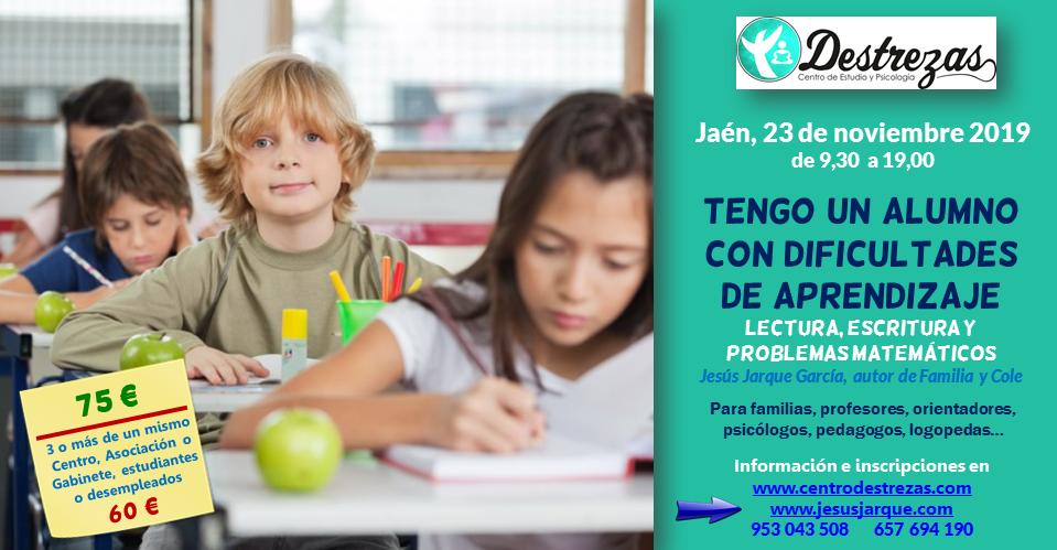 """Curso """"Tengo un alumno con dificultades de aprendizaje: lectura, escritura y problemas matemáticos"""" impartido por Jesús Jarque"""