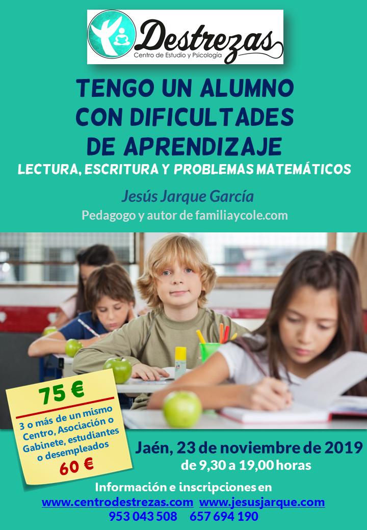 Curso en Jaén sobre dificultades de lectura, escritura y problemas matemáticos