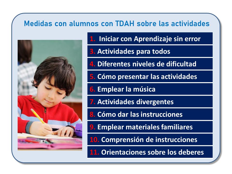 Curso de Jesús Jarque, TDAH: medidas de intervención educativa, que se impartirá en Pamplona el 5 de octubre de 2019. Medidas con alumnos con TDAH sobre las actividades