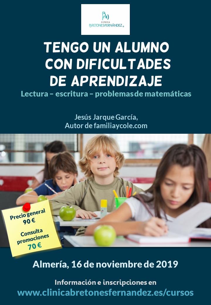 Curso en Almería sobre dificultades de lectura, escritura y problemas matemáticos