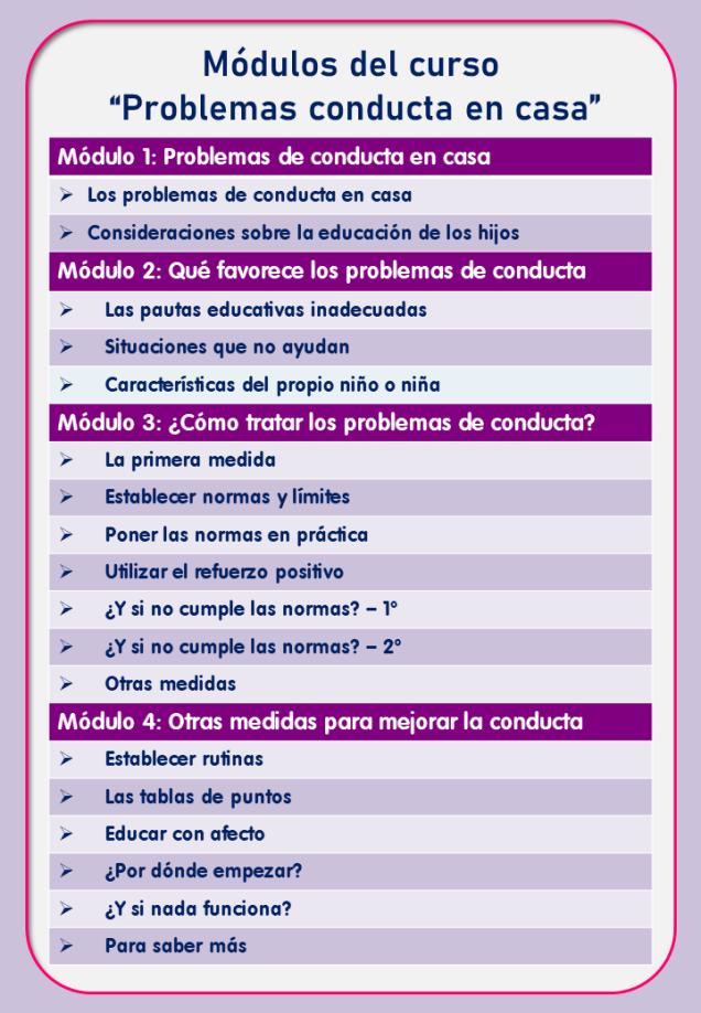 Contenido del curso on line sobre problemas de conducta en casa, de Jesús Jarque.
