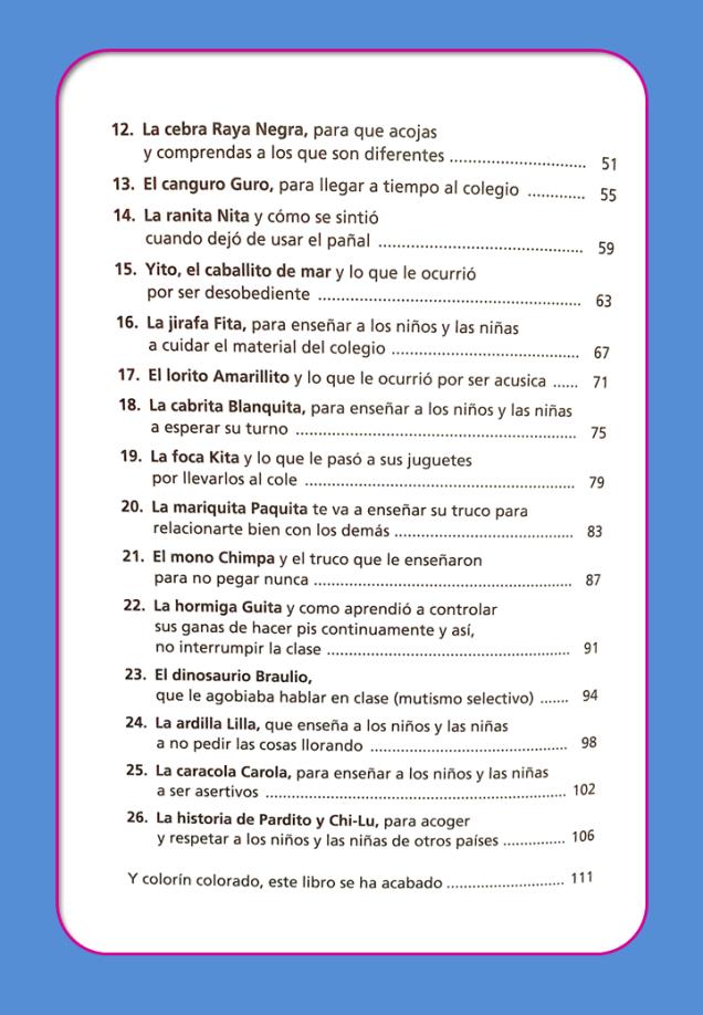 Índice del libro Cuentos con trucos para portarme bien en el cole, nuevo libro de Jesús Jarque, Editorial CCS